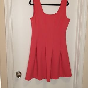 Boston Proper coral pleated fit and flare dress